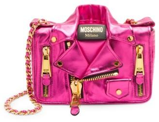 Moschino Cash Biker Jacket Metallic Leather Crossbody Bag