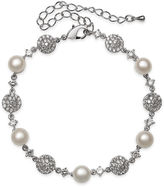 JCPenney FINE JEWELRY Cultured Freshwater Pearl and Cubic Zirconia Silver-Plated Bracelet