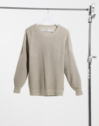 Hollister crew neck knitted jumper in oatmeal