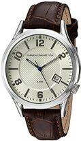 French Connection Men's Quartz Watch with White Dial Analogue Display and Brown Leather Strap FC1260TWA
