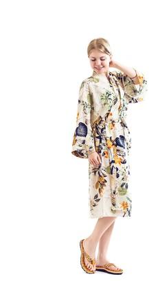 Sunnylight Robe Wedding Robe Bride Robe Fashion Sexy Long 80% Cotton Women Robe (White-Orange)