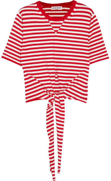 Sonia Rykiel Tie-front Striped Stretch-cotton Jersey Top - Red