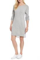 Caslon R) Woven Back Sweatshirt Dress (Regular & Petite)