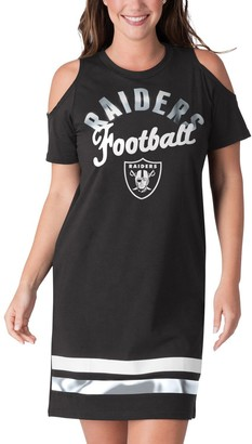 E.m. Women's G-III 4Her by Carl Banks Black Oakland Raiders Go Get Tri-Blend Cold Shoulder Mini-Dress