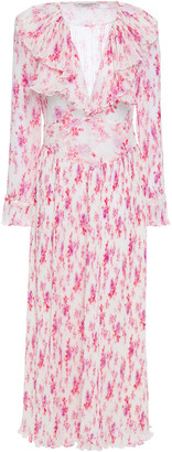 Philosophy di Lorenzo Serafini Ruffled Floral-print Plisse-chiffon Maxi Dress