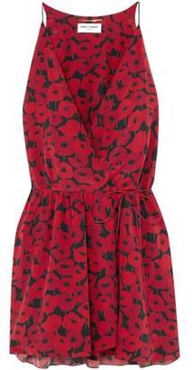 Saint Laurent Floral-print Silk Mini Wrap Dress