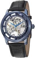 Stuhrling Original Sthrling Original Mens Blue Dial Black Leather Strap Skeleton Automatic Watch