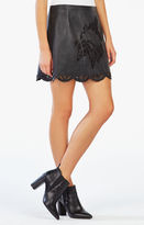BCBGMAXAZRIA Jenhifer Embroidered Faux-Leather Miniskirt