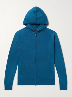 Loro Piana Portland Melange Cashmere and Silk-Blend Zip-Up Hoodie - Men - Blue