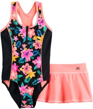 ZeroXposur Girls 7-16 & Plus Size Desert Rose 1-Piece and Cover-Up Skirt Swimsuit Set
