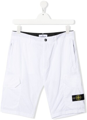 Stone Island Junior TEEN logo-patch cotton chinos
