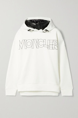 MONCLER GRENOBLE Shell-trimmed Printed Jersey Hoodie - Ivory