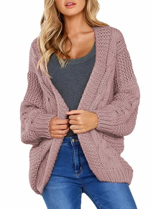 ORANDESIGNE Womens Long Sleeve Open Front Chunky Cable Knitted Cardigan Casual Loose Oversized Boyfriend Style Jumpers Sweater Coat Pink UK 6