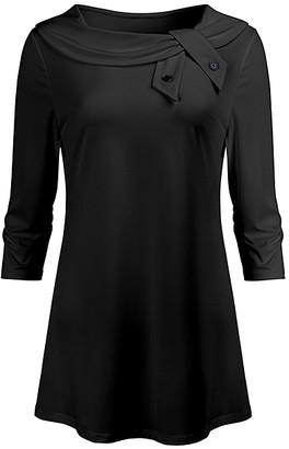 Lily Women's Tunics BLK - Black Tie-Accent Boatneck Tunic - Women & Plus