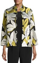 Caroline Rose Easy-Fit Leaf Jacquard Jacket, Multi, Plus Size