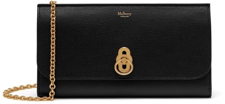 Mulberry Amberley Clutch Black Cross Grain Leather