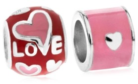 Rhona Sutton 4 Kids Children's Enamel Love Bead Charms - Set of 2 in Sterling Silver