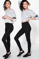 Boohoo Becki Two Pack Basic Jersey Viscose Leggings