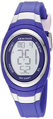 Armitron Sport Women's Silver-Tone Accented Digital Chronograph Purple Resin Strap Watch