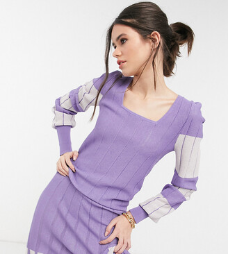 Y.A.S exclusive knitted top co-ord in lilac and white colour block