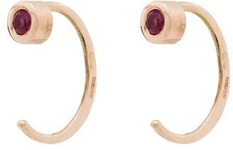 Melissa Joy Manning 14kt Yellow Gold Ruby Huggie Hoop Earrings