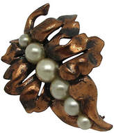 One Kings Lane Vintage Rebaje Copper Leaf Pin with Faux-Pearls