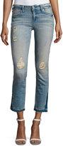 True Religion Cora Straight Crop Denim Jeans, Blue Dream Destroyed