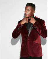 Express slim burgundy velvet cotton tuxedo jacket