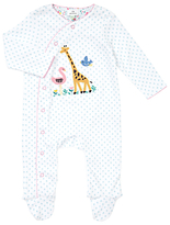 John Lewis Giraffe Wildlife Jersey Cotton Sleepsuit, Blue/White