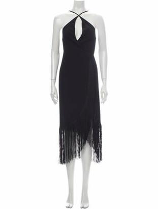 Reformation Halterneck Knee-Length Dress Black