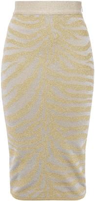 Herve Leger Metallic Zebra-print Stretch-knit Pencil Skirt