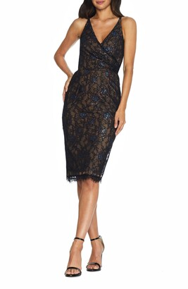 Dress the Population Fiona Metallic Lace Cocktail Dress