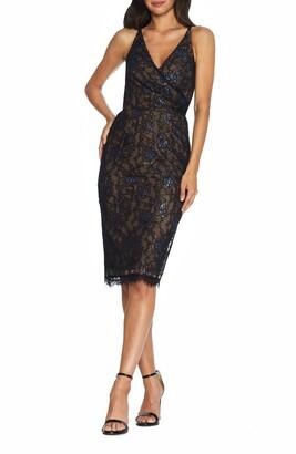 Dress the Population Fiona Metallic Lace Cocktail Dress