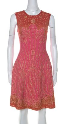 M Missoni Pink & Red Metallic Jacquard Knit Detail Sleeveless Short Dress M