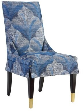 Lexington Carlyle Upholstered Parsons Chair Upholstery: Blue