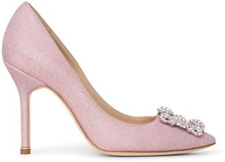 Manolo Blahnik Hangisi 105 light pink glitter pumps