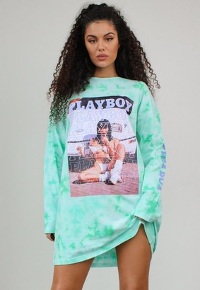 Missguided Playboy X Mint Tie Dye Text Graphic Long Sleeve T Shirt Dress