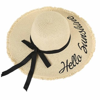 Xd E Commerce XD E-commerce Sun Hats for Ladies Womens Sun Hats Straw Hat Ladies Straw Hat Womens Straw Hat Wide Brimmed Sun Hat Women Ladies Hats Summer Summer Hats Sunhats Beige Freesize