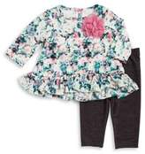 Pippa & Julie Baby Girls Two-Piece Floral Top and Denim Leggings Set