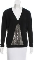 Sandro Sequin-Embellished V-Neck Sweater