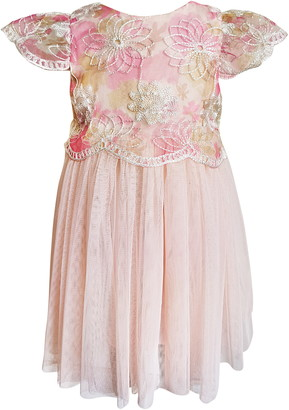 Popatu Emboridered Flower Tulle Dress