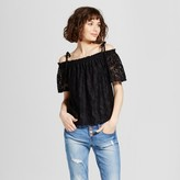Soul Cake Women's Lace Off the Shoulder Short Sleeve Top - Soul Cake (Juniors')