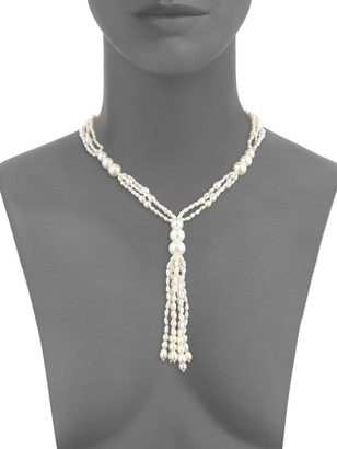 BELPEARL 14K White Gold, 2-3MM & 9-11MM White Drop & Semi-Round Pearl Tassel Necklace