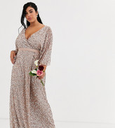 Maya Plus Bridesmaid delicate sequin wrap maxi dress in taupe blush