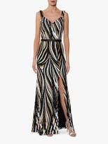 Gina Bacconi Daisha Sequin Maxi Dress, Black/Gold