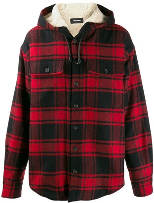 DSQUARED2 Checked Hooded Shirt Jacket