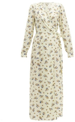 Belize - Salome Floral-print Silk-blend Wrap Dress - Cream Print