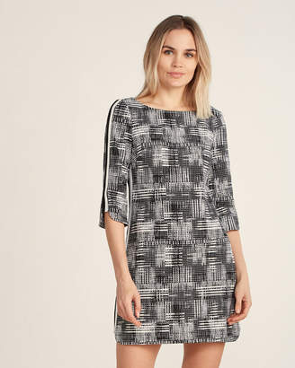 Vince Camuto Check Print Side Stripe Shift Dress