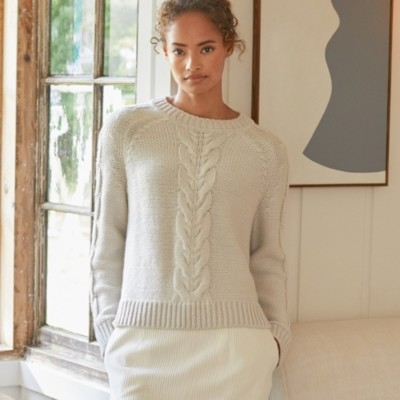 The White Company Cable-Front Crew-Neck Jumper, Oatmeal, 16