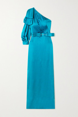 Peter Pilotto One-sleeve Bow-detailed Belted Satin Gown - Blue